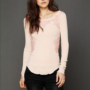 Free People Soutache Waffle Scoop Thermal Top